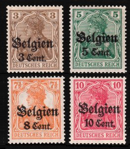 Belgium 1916-18 Surcharged Sc#N11-14 Lot of 4 MH OG F-VF