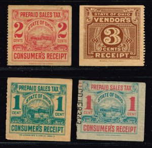 US STAMP REVENUE  STATE OF OHIO VENDOR'S TAX PAID STAMPS LOT