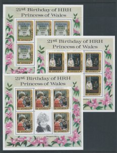 Barbuda #544-6 NH Diana 21st Birthday Ovpt. Barbuda (Sheetlets of 5)