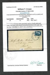 US Sc#20 Type II On Cover Cincinnati OH, Crowe Cert., Cv. $325