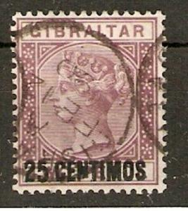 GIBRALTAR SG17b 1889 25c on 2d BROWN-PURPLE BROKEN N VARIETY USED