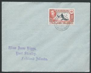 FALKLAND IS 1946 GVI 1/3d Vulture on FDC - Port Stanley cds................43915
