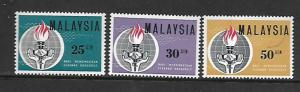 MALAYSIA, 9-11, MNH, GLOBE, TORCH, SNAKE AND HANDS