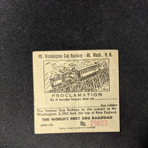 MT WASHINGTON COG RAILWAY NH Railroad Proclamation XF, CV $16.50