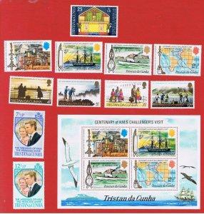 Tristan da Cunha #180-190  MNH OG  1973 complete w/SS   Free S/H