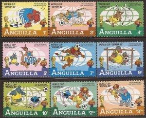 Anguilla - 1982 Disney Bedknobs & Broomsticks and Soccer - 9 Stamp Set #492-500
