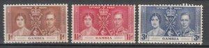 Gambia - 1937 Coronation Sc# 129/131 - MLH (7694)