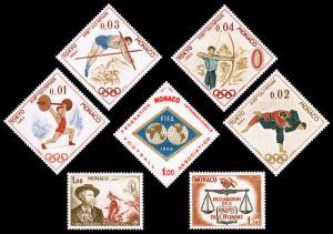 Monaco Scott 592-595, 598, 599, 601 (1964) Mint NH/VLH VF B