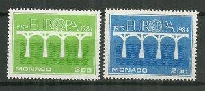 1984 Monaco #1424-5  Europa Cept C/S of 2 MNH
