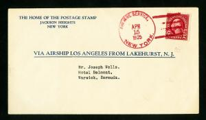 US Stamps Superb Zeppelin Cover From Lakehurst NJ To Warwick Bermuda, 1925