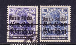 POLAND  1918-19  20pf  GERMAN OVPT BOTH SHADES  M&U  Sc 21/a