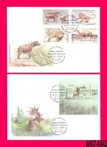 MOLDOVA 2016 Nature Fauna Lost Ancient Extinct Mammals Animals Sc924-928 2 FDC