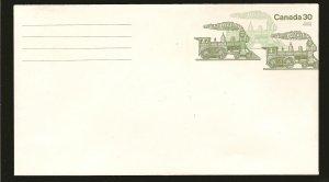 Canada U112 Trains 30 Cent Olive #8 Envelope MNH