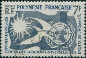 French Polynesia 1958 Sc#191,SG17 7f Human Rights FU