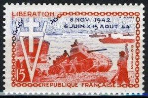 France 1954, 15 Fr 10th anniv Allied landing Normandy VF MNH, Mi 1003 2€