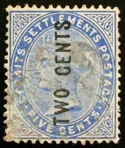 Malaya Straits Settlements 1884 QV 2c on 5c Used SG#76 M2076