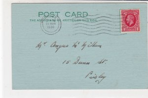 England 1936 Paisley Cancel Wavy Lines Slogan Frm Bridge Club Stamp Card  34845