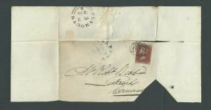 1844 Great Britain #3a Orange Brown On Folded Letter Trimmed Lower Right