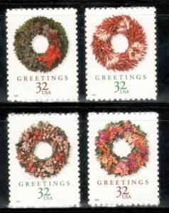 3249-52b Holiday Wreaths Set Of 4 Mint/nh FREE SHIPPING