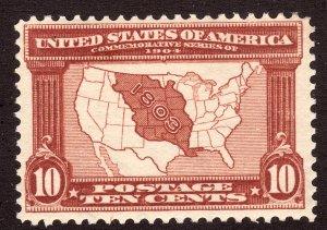 1904 U.S Map of Louisiana Purchase 10¢ MNH gum blemish Sc# 327 CV $300.00