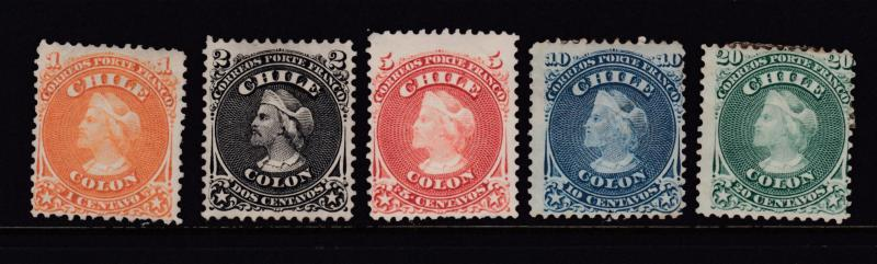 Chile Scott# 15-19 Mint with #17 MNH Complete Set