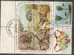 CUBA, 1964, CTO 10c, Block of 5 + label, Coral, Scott 926a