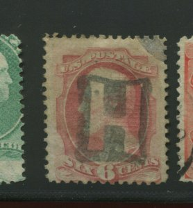 Scott 137A Lincoln I Grill Used Stamp with Negative 'H' Cancel    (Stock 137-6)