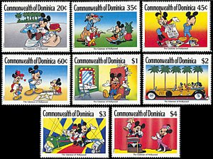 Dominica 1208-1215, MNH, Disney Enjoying the Glamour of Hollywood