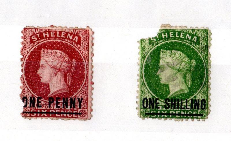 St Helena QV 1860s 1d/1/- O/P Mint Spacefillers X5540