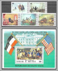 Upper Volta #365-367A American Bicentennial Complete Set Souvenir Sheet CTO