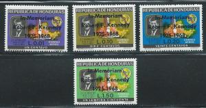 Honduras C446-8 1968 Kennedy set and single from s.s. MNH
