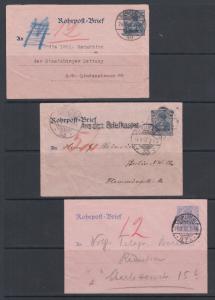 Germany Mi RU4a, RU5, RU7, used.1900-1902 Pneumatic Post Envelopes, 3 different