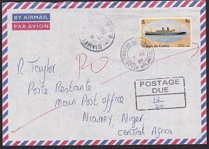 TRISTAN DA CUNHA 1997 Returned postage due cover to NIGER...................6212