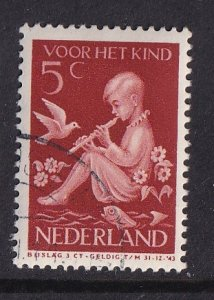 Netherlands  #B111  cancelled  1938  child with flowers,bird and fish 5c