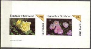 {E144} Eynhallow Scotland Flowers (4) Sh.2 Imperf. MNH Cinderella !!