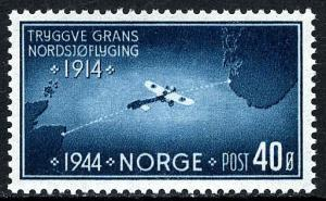 Norway 267, MNH. 1st flight over the North Pole, by Tryggve Gran, 20th ann. 1944