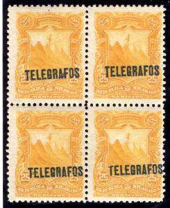 RH#31,H31, Type 6 - 25c orange yellow- MNHOG - block - Nicaragua Telegrap...