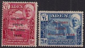Aden 1946 KGV1 Shihr & Mukalla Set of Victory MM SG 12 - 13 ( G1040 )