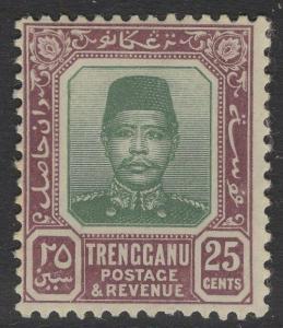 MALAYA TRENGGANU SG12 1915 25c GREEN & DULL PURPLE MTD MINT