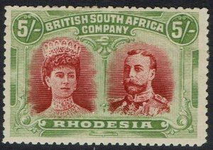 RHODESIA 1910 KGV DOUBLE HEAD 5/-
