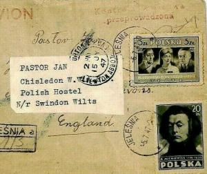 POLAND COVER Jelesnia 1947 Forwarded *POLISH HOSTEL* GB Wilts Label{samwells}CU2