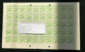 Burma Japanese Occupation #2N31 (SG #J24) Extra Fine Mint Variety Sheet Of 50