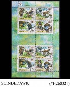 ANGOLA - 2011 MONKEY / WILD ANIMALS /  WORLD WILDLIFE FUND WWF MIN/SHT MNH