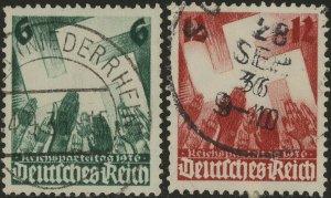 Stamp Germany Mi 632-3 Sc 479-80 1936 Reich War Era Nuremberg Party Used