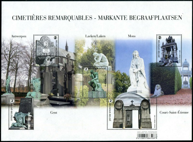 HERRICKSTAMP NEW ISSUES BELGIUM Cemeteries Sheetlet of 5 Different