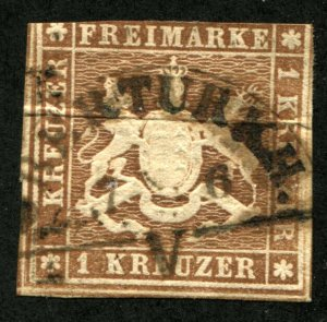 WURTTEMBERG #13 GERMAN States Stamps Postage 1859 Used