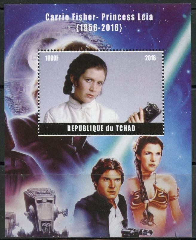 CHAD 2016 MEMORIALIZES CARRIE FISHER PRINCESS LEIA SOUVENIR SHEET MINT NH