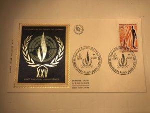 France Colorano silk FDC, 8 décembre 1973, Anniv déclaration des droits homme