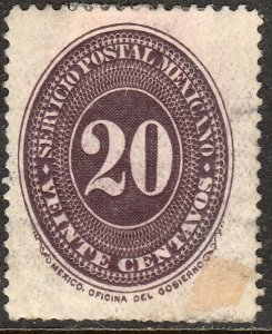 MEXICO 182, 20¢ LARGE NUMERAL. UNUSED, H OG. VF (225)