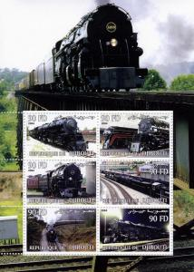 TRAINS & LOCOMOTIVES Sheet Perforated Mint (NH)